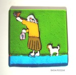 OLD LADY WITH A BIRD fused glass panel approx.20cmx20cm