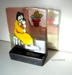 MOTHER AND CHILD fused glass panel approx. 18cmx18cm