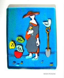 THE BIRD AND PLANT fused glass panel 20cm x20cm
