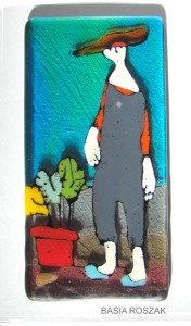 GARDENER fused glass panel approx. 11cmx20cm