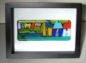 LAUNDRY fused glass framed panel 7cmx15cm without frame