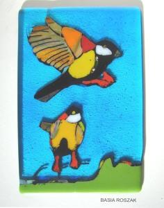 BIRDS fused glass panel approx.15cmx24cm