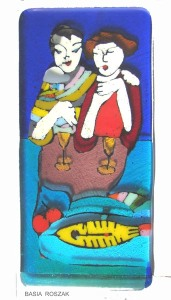 SUPPER fused glass panel approx.15cmx 24cm