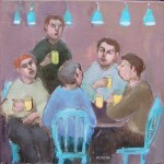 boys night out small oil painting