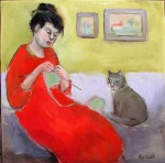 knitter with cat