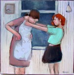 mother and daughter oil painting on canvas