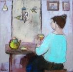 companions birds bird feeder lady oil on canvas