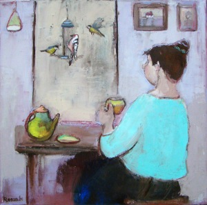 companions birds bird feeder lady oil on canvas