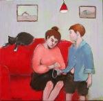 loose button original art oil painting basia roszak