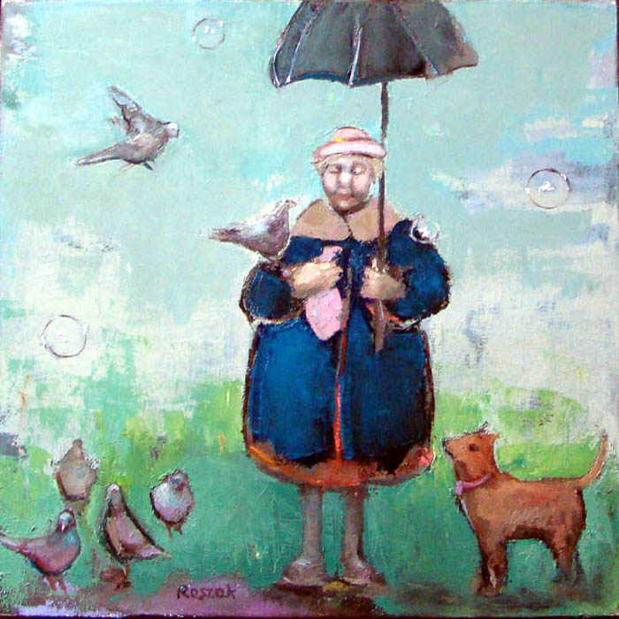 birds old lady with umbrella oil painting