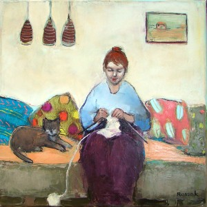 knitter with a cat