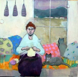 knitter cats oil on canvas