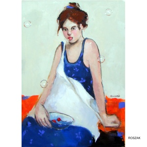 BLUE DRESS oil on canvas 70cmx50cm £1000