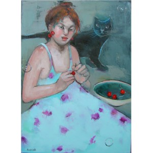 CHERRIES AND A BLACK CAT oil on canvas 70cmx50cm £1000