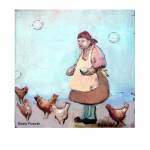 Old lady feeding chicken.Original oil painting