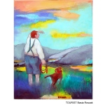 Man wit a dog in Scottish Highlands. Colourful original painting
